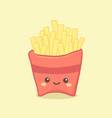 cute french fries cartoon vector image vector image