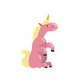 cute pink unicorn magic fantasy animal character vector image vector image