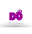 do d o dots letter logo with purple bubbles vector image