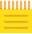 empty shelves on yellow wall vector image vector image