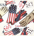 fashion seamless pattern with cards and gloves vector image