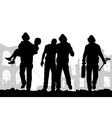 Firefighters silhouette vector image vector image