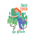 girl which hugging green tree vector image vector image