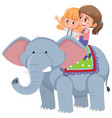 girls riding an elephant vector image