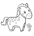 horse cartoon black and white coloring smile vector image vector image