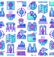 immigration seamless pattern with thin line icons vector image vector image