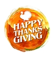 Invitation card for Happy Thanksgiving with turkey vector image