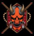 japanese mask logo hannya vector image vector image