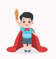 kid boy with a wooden sword and a cape vector image vector image