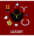Luxury concept displaying expensive jewelry vector image