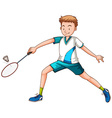 Man playing badminton with racket vector image vector image