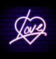 neon realistic word love for advertising neon vector image vector image