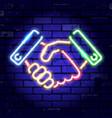 neon signboard handshake vector image vector image