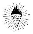 pizza delivery label pizza slice fire vector image vector image