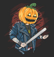 pumpkin head rocker halloween vector image vector image
