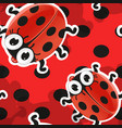red background with cute cartoon ladybug vector image vector image