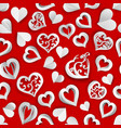 seamless pattern of paper hearts vector image vector image