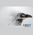 silhouette of a crow from particles vector image vector image