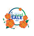 summer sale banner with flowers vector image