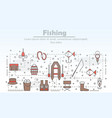 thin line art fishing poster banner vector image vector image