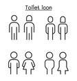 toilet restroom sign in thin line style vector image