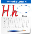 tracing alphabet template for letter h