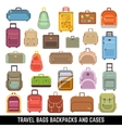 Travel bags backpacks and cases color icons vector image vector image