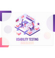 usability testing isometric landing page vector image