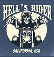 vintage and rusty design skull riding vector image vector image