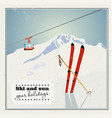 vintage winter background poster red ski lift vector image vector image