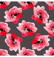 Watercolor flowers red poppy seamless pattern vector image