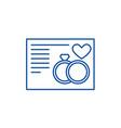 wedding card line icon concept wedding card flat vector image