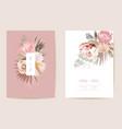 wedding tropical floral invitation dry protea vector image vector image