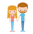 young happy family bearded man and redhead woman vector image