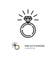 ring with diamond icon engagement and wedding vector image