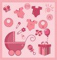 new born baby girl set vector image
