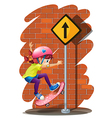 A girl skateboarding near the signboard vector image