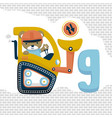 animal cartoon on construction vehicle vector image vector image