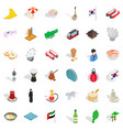 asian landmark icons set isometric style vector image vector image
