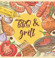 barbecue and grill hand drawn background vector image vector image