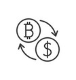 bitcoin to dollar exchange icon vector image