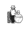 black and white potion jars with magic liquids vector image