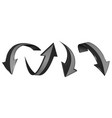 black arrows set 3d web icons vector image