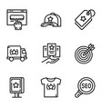 business target brand icon set outline style vector image vector image