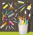 Can Holder with Office Supplies and Stationery vector image vector image