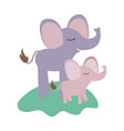 cartoon elephant mom and calf over grass in vector image