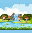 children fishing in outdoor scene vector image vector image