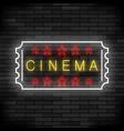 cinema light neon sign on brick background movie vector image vector image