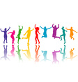 Colorful silhouettes jumping vector image vector image