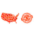 composition of map of usa burning and fire hazard vector image vector image